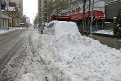 Piles of snow on the street, New York City Stock Image