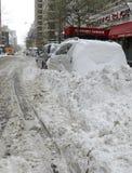 Piles of snow on the street, New York City Stock Image