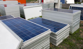 Piles of solar cells ready for installation Stock Image