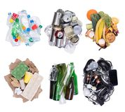 Piles of sorted waste isolated on white background, top view. Piles of sorted waste such as plastic, paper, metal, glass, electronic and organic waste isolated stock photos
