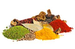 Piles of spices Royalty Free Stock Photo