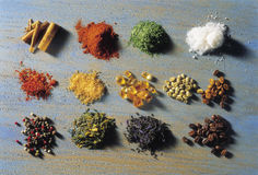Piles of spices on a mottled background Royalty Free Stock Photo