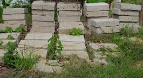 Piles of square concrete Stock Photo
