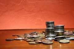 Piles or stacks of coins Royalty Free Stock Photo
