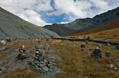 Piles of stones at Altai mountains Stock Photos
