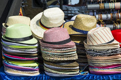 Piles with sunhats Stock Photography