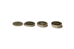 Piles of Swedish krona coins Royalty Free Stock Image