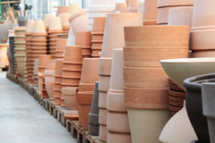 Terracotta's pots. Piles of Terraccotta's pots in a store royalty free stock photos