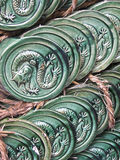 A piles of tiles. With dragon pattern Royalty Free Stock Photography