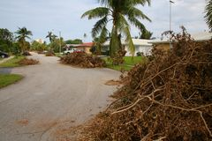 Piles of Tree Branches Hurricane Irma. Piles of tree branches line up the residential neighborhood street awaiting trash pickup just west of Boca Raton Community Royalty Free Stock Photography