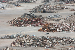 Piles Of Twisted Metal And Debris Litter A Demolition Site Stock Photos