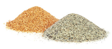 Piles of two colors sand for construciton Stock Photo