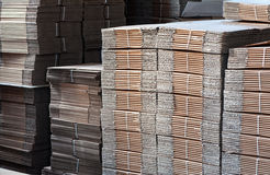 Piles of Unused Card Boards at the Factory Royalty Free Stock Photos