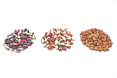 Piles of various beans Stock Images