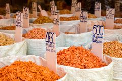 Various Dried Shrimp For Sale At Market Royalty Free Stock Photography