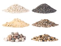 Piles of various gravel, stones and pebbles isolated stock photos
