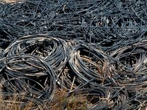 Piles of waste cables Royalty Free Stock Images