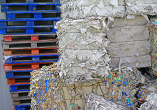 Piles of waste paper in the factory store Royalty Free Stock Images
