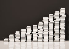 Piles of whiite books step rising up, 3d rendered Royalty Free Stock Images