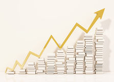 Piles of whiite books step rising up with golden arrows graph, 3d rendered. Piles of whiite books step rising up with golden arrows graph. 3d rendered Stock Images