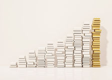 Piles of whiite books step rising up with the golden pile at top, 3d rendered Stock Photos