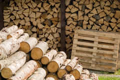 Piles of wooden logs Royalty Free Stock Photography
