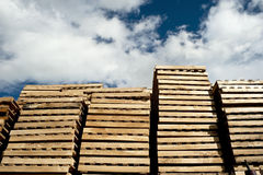 Piles of wooden pallets Royalty Free Stock Photography