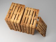 Stacked wooden pallets. Piles of wooden warehouse pallets shot from above Royalty Free Stock Image