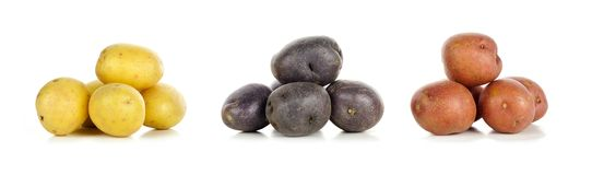 Piles of yellow, purple and red little potatoes over white. Three piles of yellow, purple and red fresh little potatoes over a white background Royalty Free Stock Photography