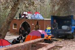 Pilger, die in den Zelten, der Iran leben Lizenzfreie Stockbilder