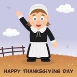 Pilger-Frauen-glückliche Danksagungs-Karte Stockfotos