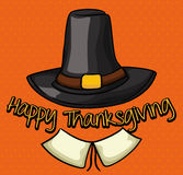 Pilger-Hut im orange Hintergrund für Danksagungs-Tag, Vektor-Illustration Stockfotografie