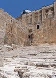 Pilger-Schritte am südlichen Ende der Klagemauer in Jerusalem lizenzfreies stockbild