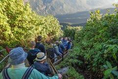 Pilgeraufstieg die Spur zur heiligen Berg-Adams-Spitze auch Sri Pada ist der populärste Pilgerplatz in Sri Lanka Stockfoto