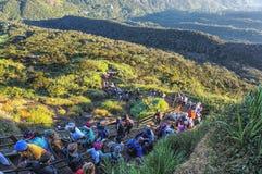 Pilgeraufstieg die Spur zur heiligen Berg-Adams-Spitze auch Sri Pada ist der populärste Pilgerplatz in Sri Lanka Stockfotografie