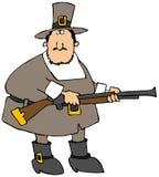 Pilgerer mit einer Gewehr Stockfotos