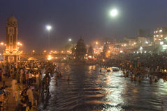 Pilgirms in Haridwar, India. Hindu pilgrims visiting Haridwar, India to bathe in the holy Ganges river. Haridwar is on the foothills of the Himalayas and it`s stock images