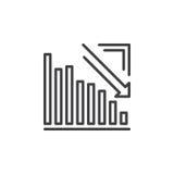 Pilgraf som går ner linjen symbol, översiktsvektortecken, linjär pictogram som isoleras på vit Royaltyfria Foton