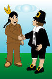 Pilgram and Indian Meeting Royalty Free Stock Images