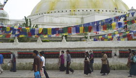 Pilgrams at Boudhanath Stupa Stock Photos