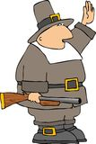 Pilgrim. This illustration depicts a Pilgrim man carrying a blunderbuss gun Stock Image