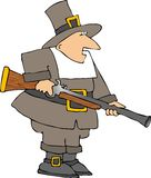 Pilgrim. This illustration depicts a Pilgrim man carrying a blunderbuss gun Royalty Free Stock Photography