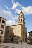 Pilgrim arriving Encina Church in Ponferrada, Bierzo, Spain. Royalty Free Stock Photos