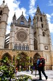 Pilgrim arriving at the Cathedral of León, Spain royalty free stock photography