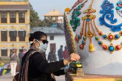 Pilgrim at Boudhanath Stupa in Kathmandu, Nepal Royalty Free Stock Image