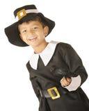 Pilgrim Boy, Happy with Bird Stock Image