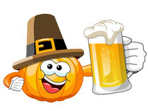 Pilgrim Cartoon pumpkin beer mug isolated Stock Photo