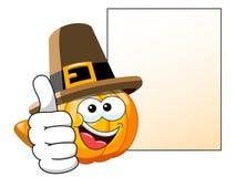 Pilgrim Cartoon pumpkin thumb up blank banner  Stock Image