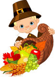 Pilgrim with cornucopia Royalty Free Stock Photos