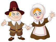 Pilgrim couple. Illustration of a thanksgiving day Pilgrim couple vector illustration